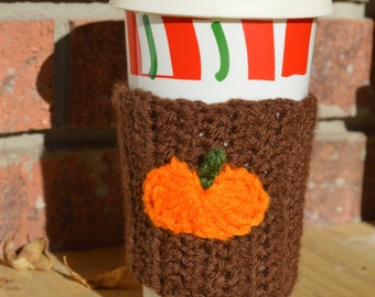 Items similar to SALE**Crochet Pumpkin Coffee Sleeve Cozy ...