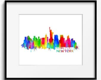 New York City Skyline Watercolor Art Print (039)