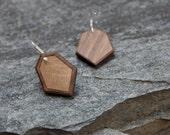 Wood and Bronze Geometric Inlay Earrings
