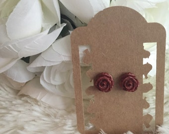 Copper Mini Rose Earrings w/ Stainless Steel Backings - Rose Earrings - Women's Earrings