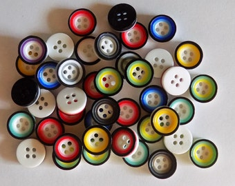 20 Plastic Round Multi Coloured Buttons - #R-00011