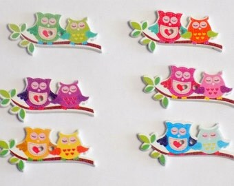 6 Wooden Owl Buttons - #SB-00189