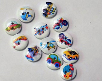 12 Wooden Boy Toy Buttons - #WS-00074