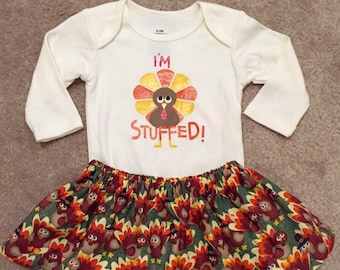Thanksgiving outfit baby girl first Tom Turkey Day everyone is thankful for me shirt dress up skirt bodysuit onesie size NB 3 6 9 12 18 24