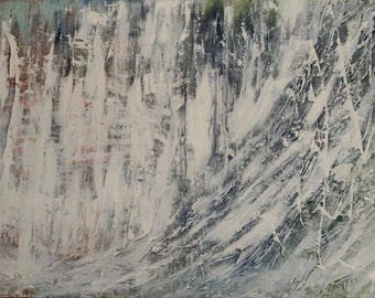 ORIGINAL Painting, Art Painting Acrylic Painting Abstract Painting, White, grey, blue