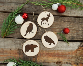Set of 11 (Eleven) Woodland Animal Christmas Ornaments, Woodland Ornaments, Rustic Christmas Ornaments, Wood Ornaments, Painted Ornaments