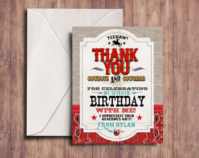 Thank you card,Vintage Cowboy Invitation, boy birthday, cowgirl, rodeo, western invitation, retro, wanted poster, rodeo poster, cowgirl,