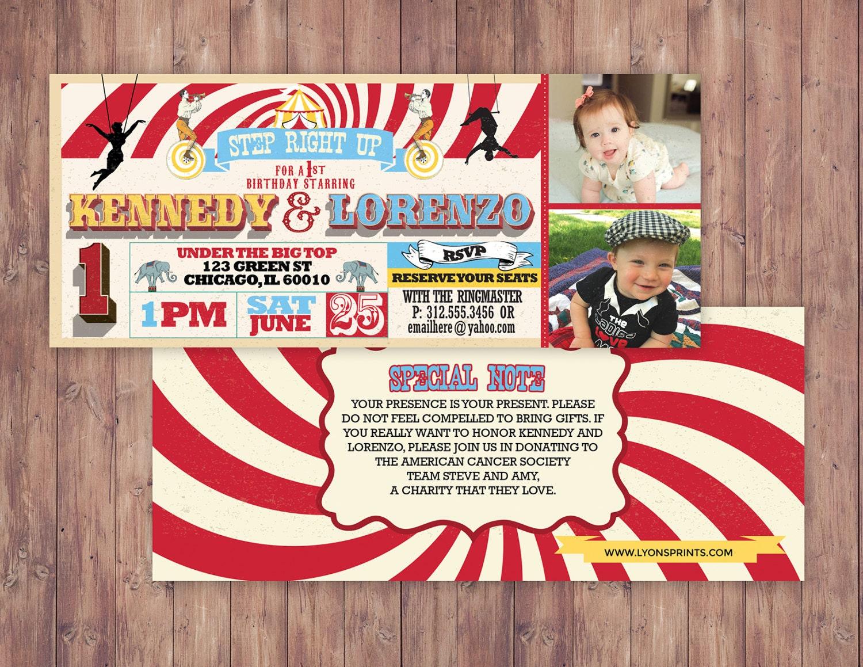 Birthday- circus ticket-carnival ticket invitation - vintage circus ...