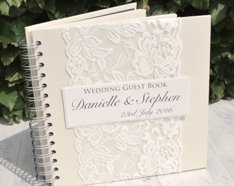 Handmade Lace Wedding Guest Book, Vintage, Scrapbook, Album, Personalised for Weddings with Delicate Ivory Lace