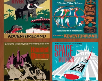 Handmade Ceramic Coasters - Retro Walt Disney World Attraction Poster - Set of 4