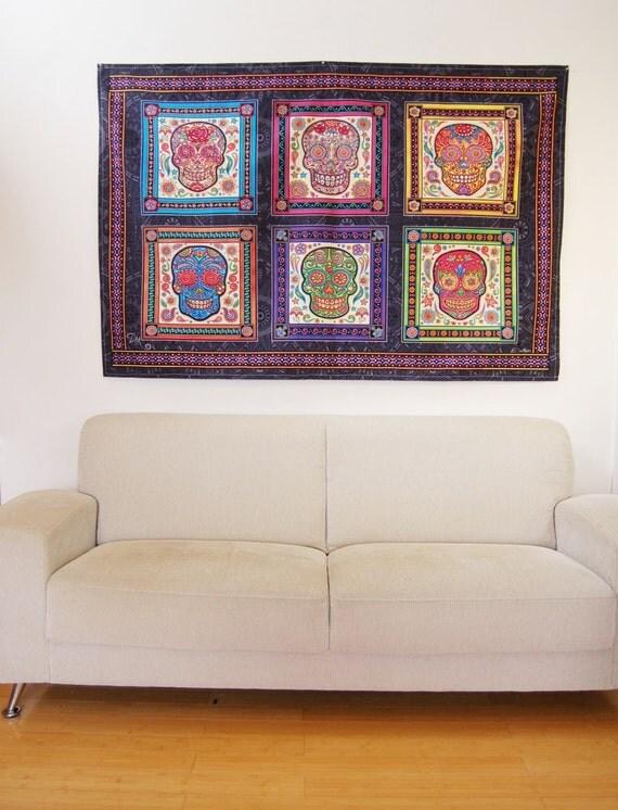 Artistic Wall Design Inc : Danmorrisart sugar skull tapestry wall hanging small