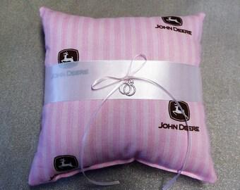 John Deere PINK fabric Wedding Ring Bearer pillow