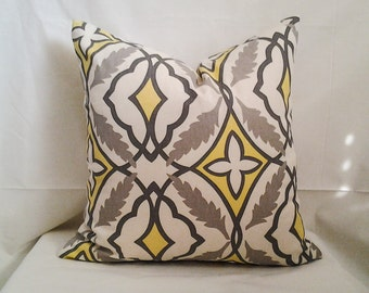 Yellow and Grey Pillow Cover, 18x18 Pillow Cover, Decorative Pillow, Toss Pillow, Home Decor, Summer, Spring Decor, Retro Pillow