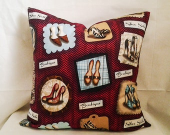High Heels Pillow Cover, 18x18 Pillow Cover, Decorative Pillow, Toss Pillow, Home Decor, Summer, Spring Decor, Red and White