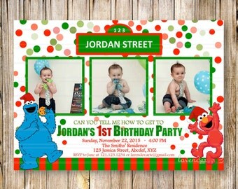 CHRISTMAS SESAME STREET 1st 2nd 3rd Birthday Party Invitation, Red Green Confetti Invite, Sesame Street Elmo, Cookie Monster, Digital Photo