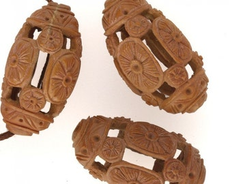 Rare Vintage Chinese carved fruit pit Hedaio bead. Sold individually. b7-wo337(e)