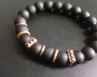 Men black rubber bead and copper spacer stretch jewelry bracelet