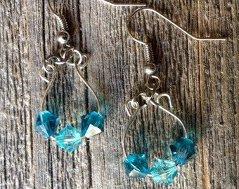 Silver and Blue Crystal Loop Earrings