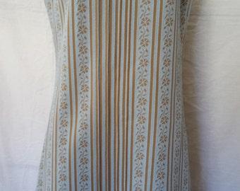 Vintage 1960's Mod Shift Dress blue brown Floral Striped optional belted waist  misses sz S - M