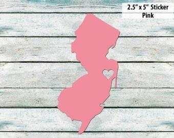 I Love New Jersey Sticker - Pink - New Jersey