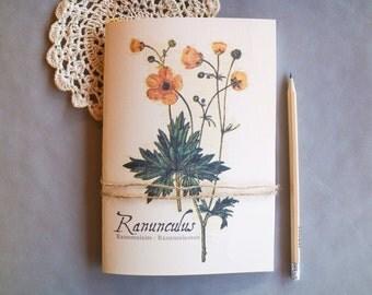 Vintage Flower Notebook - Buttercup Journal - Vintage Journal - Floral Journal - Botanical Notebook - Gift Idea - A5