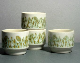 SALE Vintage Hornsea Eggcups/Hornsea Fleur Design/Hornsea pottery/English Pottery/Retro Eggcups/Hornsea Pottery/Mid Century Modern