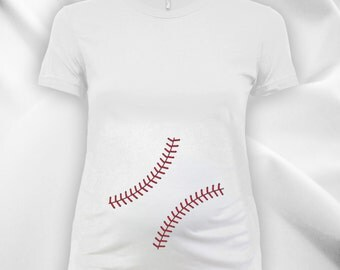 Baseball Belly Ladies Maternity scoop neck fine jersey tee, expecting mom, women's t-shirt, maternity tops, pregnancy t-shirt - CT-739