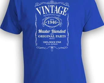 Vintage Whiskey Label Birthday Shirt Born 1946 - Celebrating 70th Birthday, Gifts for Him, Gifts for Grandpa, Gifts for Dad Bourbon CT-1035