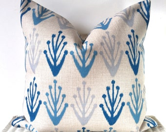 Blue Ikat cushion blue ikat pillow