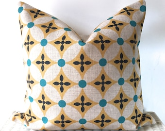 """Retro pillow cover retro cushion cover mustard and teal 18x18"""""""