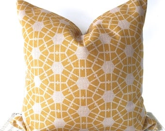 Yellow geo cushion, mustard pillow cover, hexagon cushion, yellow scandi cushion cover, yellow throw pillow, mustard geo cushion