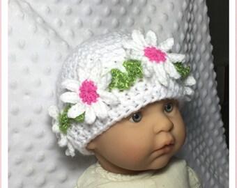 Littlebits Newborn Baby Crocheted Floral Beanie Pink/White