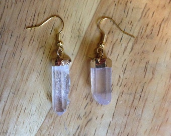 Gold Natural Clear Crystal Quartz Pendulumn Column Dangle Earrings