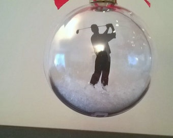 Golfer Silhouette in the Snow  Acrylic Bauble