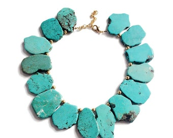 Blue Turquoise Necklace Gold Beads With Stones Irregular Slice Bib Statement Necklace Gold Chain