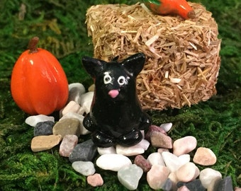 Fairy Garden Cat Halloween Fall Miniature Tiny Black Cat Sculpture