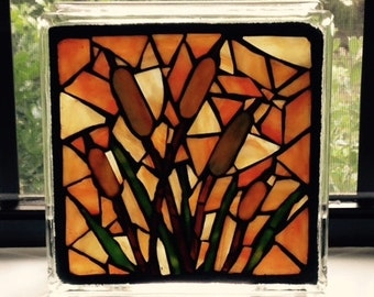 Stained Glass Mosaic on Glass Block-Cattails