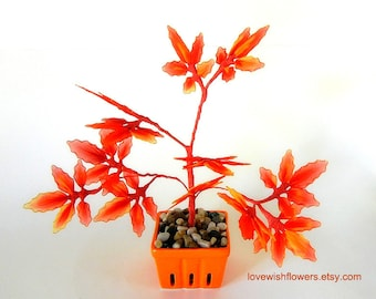 Japanese Red orange maple leave tree potted bonsai for Home decor, Fall gift. Handcraft nylon fabric flower. Floral arrangement