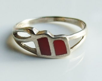 Vintage 925 Sterling Silver Double Red Enamel Ring Size 8 - P 1/2