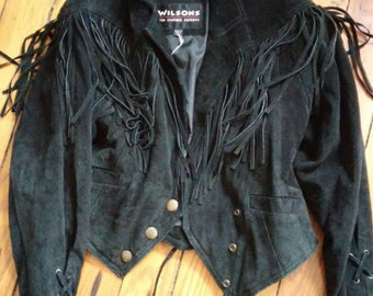 Vintage Black Suede Fringe Jacket women's size small