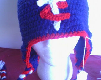 Navy blue MN Twins crocheted earflap hat