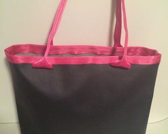 faux leather tote bag with seat belt straps, vegan leather handbag, shoulder bag