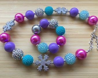 Frozen Chunky Necklace Snowflake Christmas Frozen Inspired Chunky Bubblegum Bead Necklace Childrens Costume Jewelry Fall Birthday G