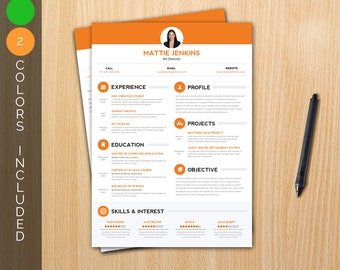 Resume Template / CV Template + Cover letter in 2 colors - Instant download