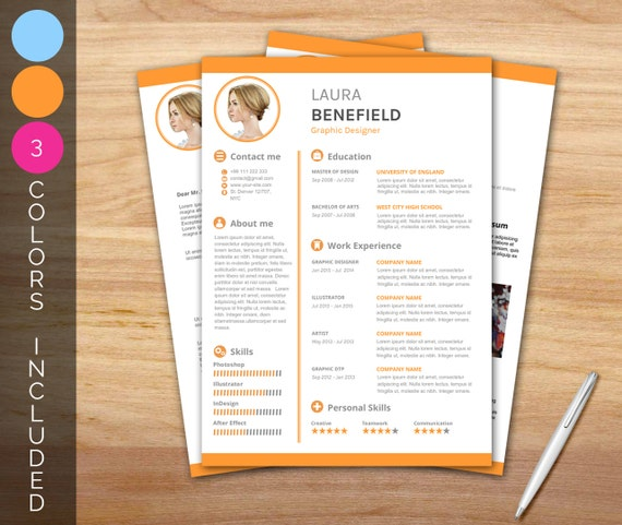 Resume Template / CV Template + Cover letter + Portfolio page in 3 colors - Instant download