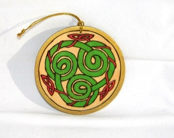 Ornament - Celtic Spirals Green