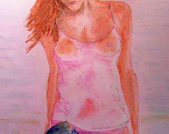 Girl on a beach (computer enhanced pastel download) A4 (approx)