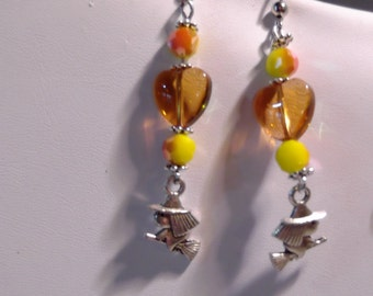 Witch on Broom &glass heart earring