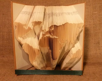 Book folding Pattern for WORLD MAP - Premium - Earth - Europe - Asia - Africa - America - Australia - DIY - Pages - Tutorial - T110-255