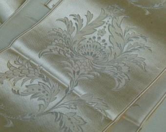 Rare 1800s silk jacquard ribbon champagne w/ intricate orchard brocade, luxury bridal design, vintage wedding, costume restoration